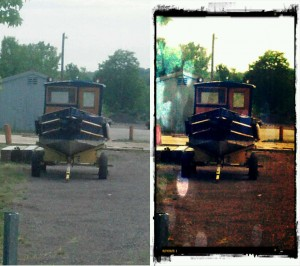 A before and after image of a boat on a trailer in an Erie Canal maintenance yard