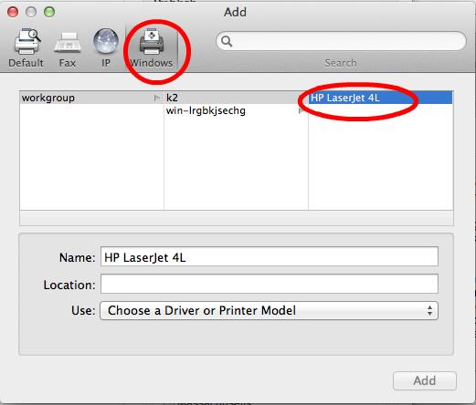 Select a Printer to Add