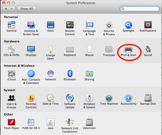 System Preferences Print & Scan
